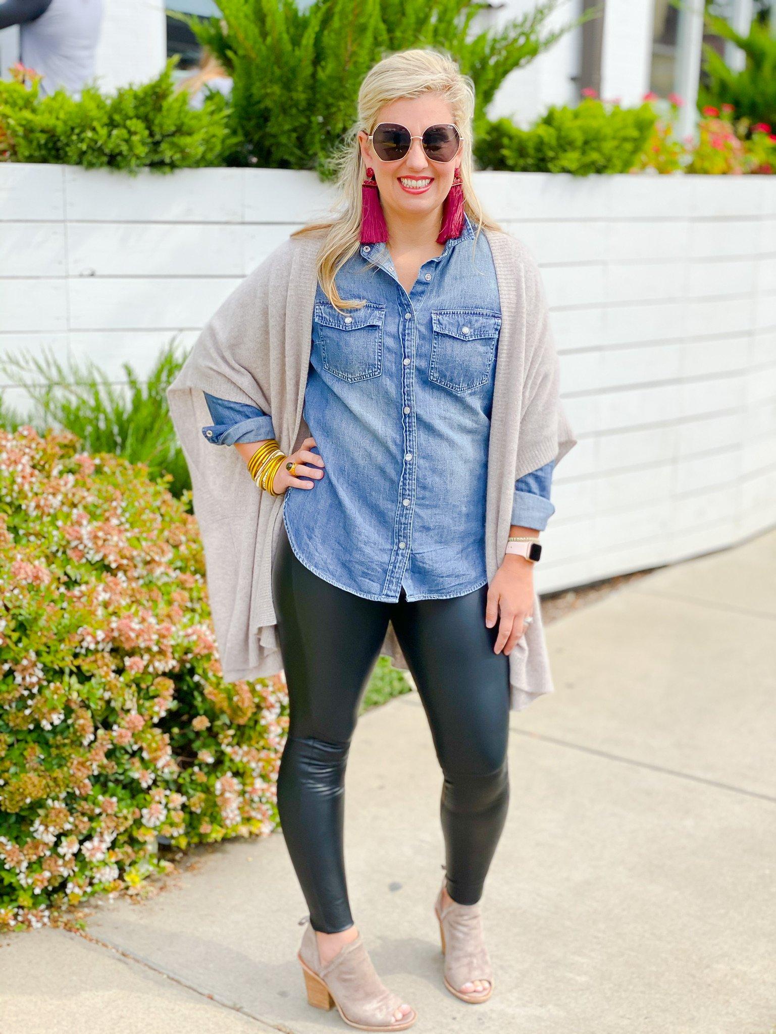 denim top with cardigan and leggings