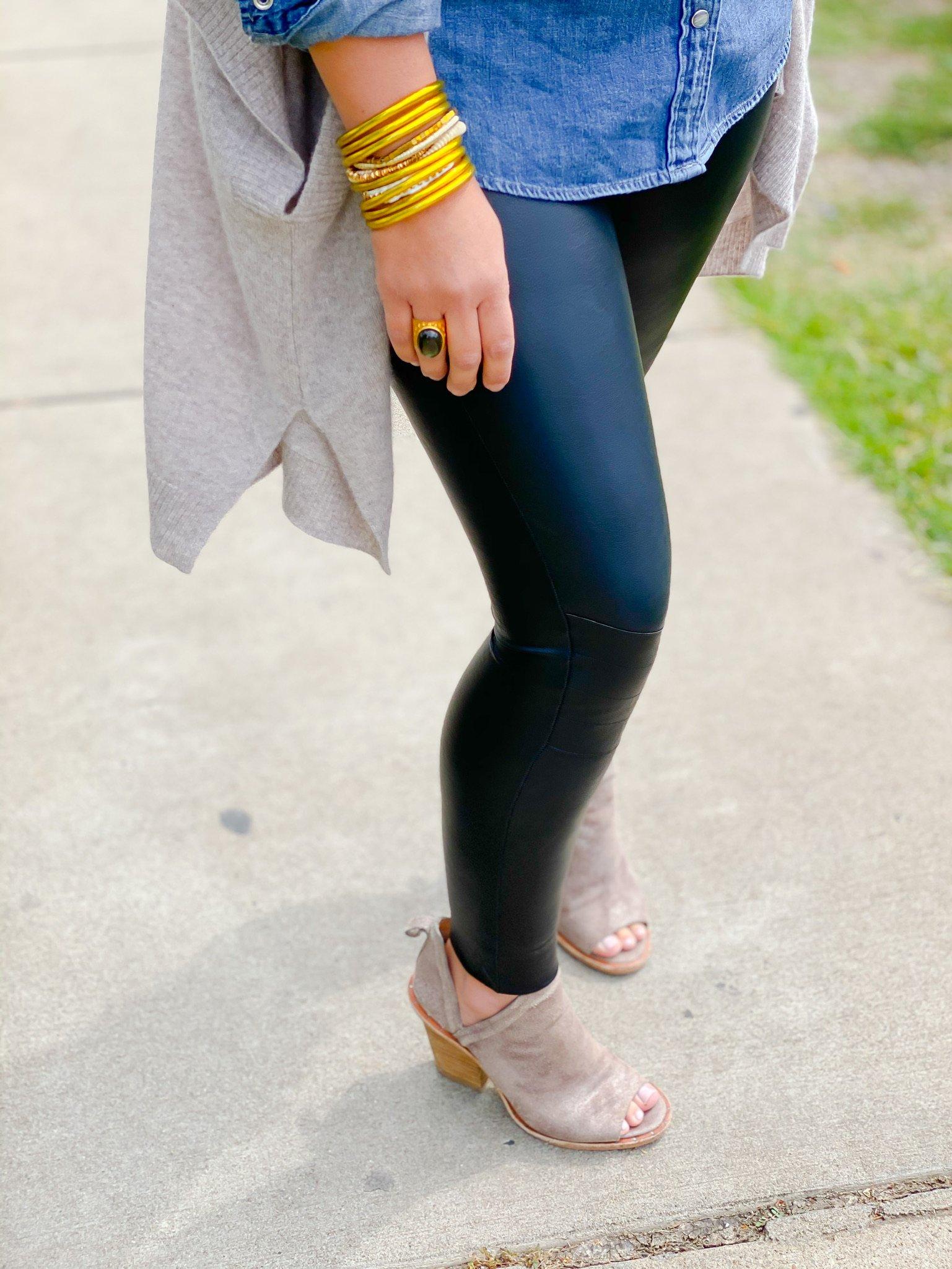 close up of leggings with denim top