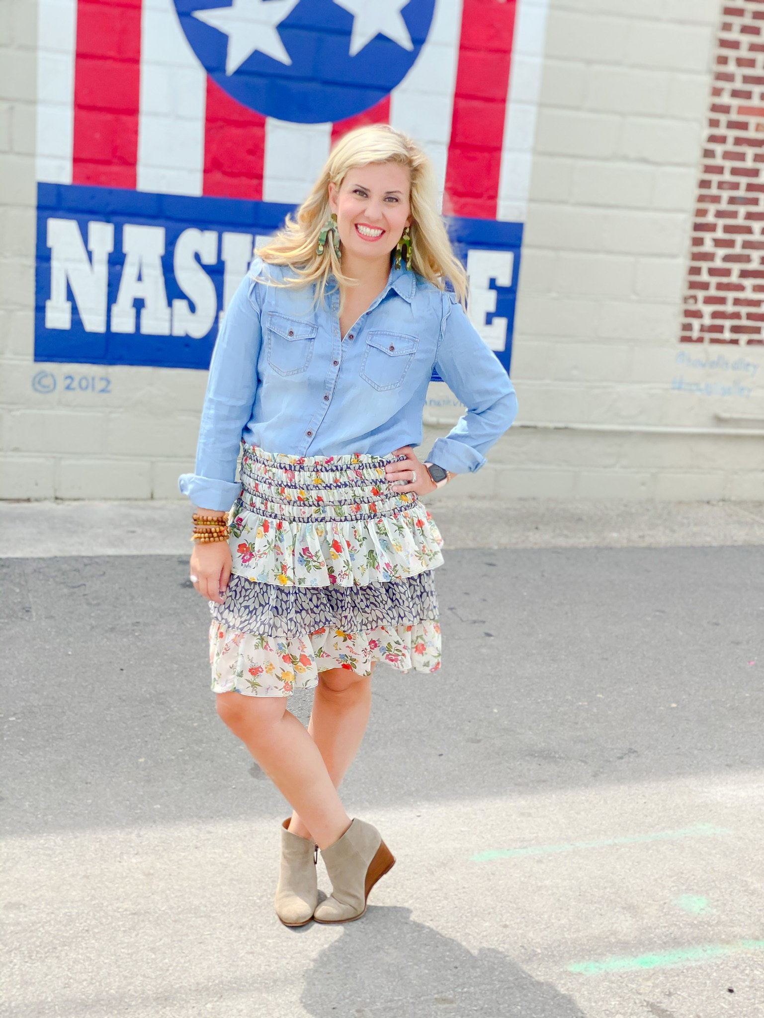 denim blouse with short skirt and booties