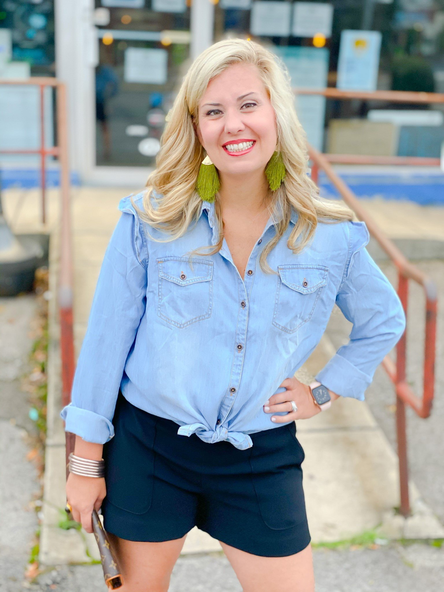 Bluebird Chambray Button Blouse by Good Hart Style Option 1