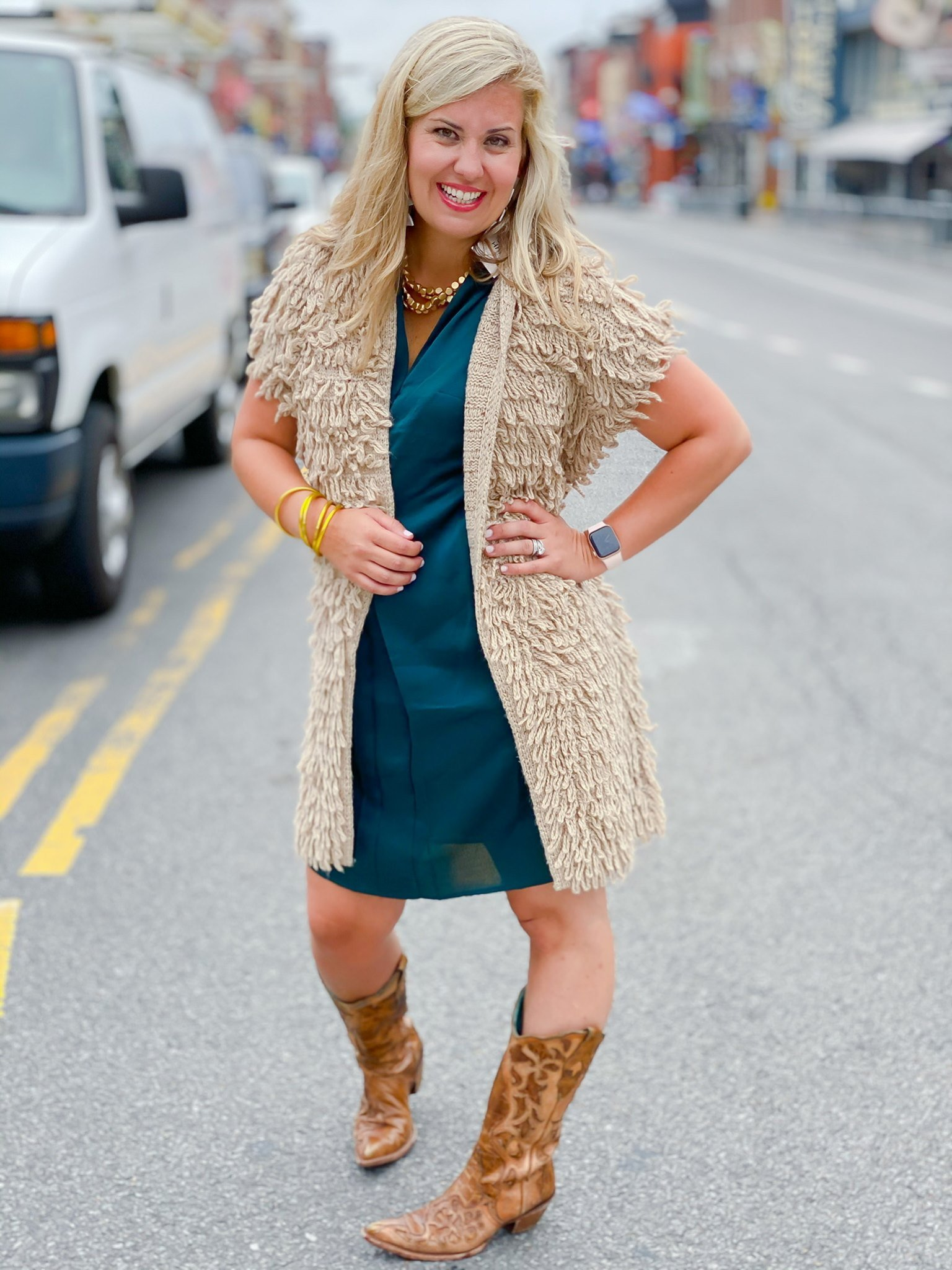 Broadway Dress by Good Hart, the dress that is perfect for any occasion styled with parkway vest