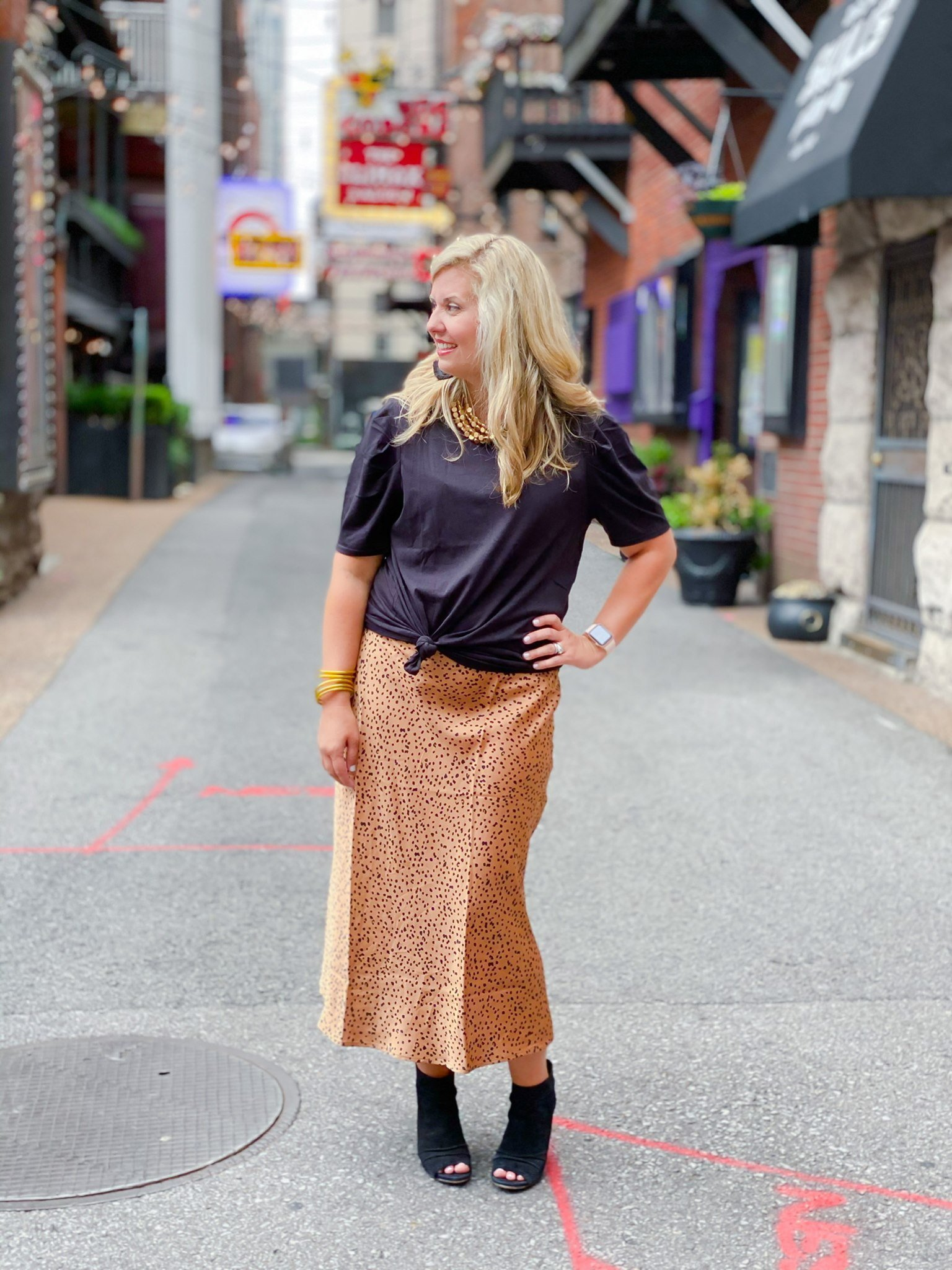 Urban Fitted Skirt by Good Hart paired with Black Briley Tee