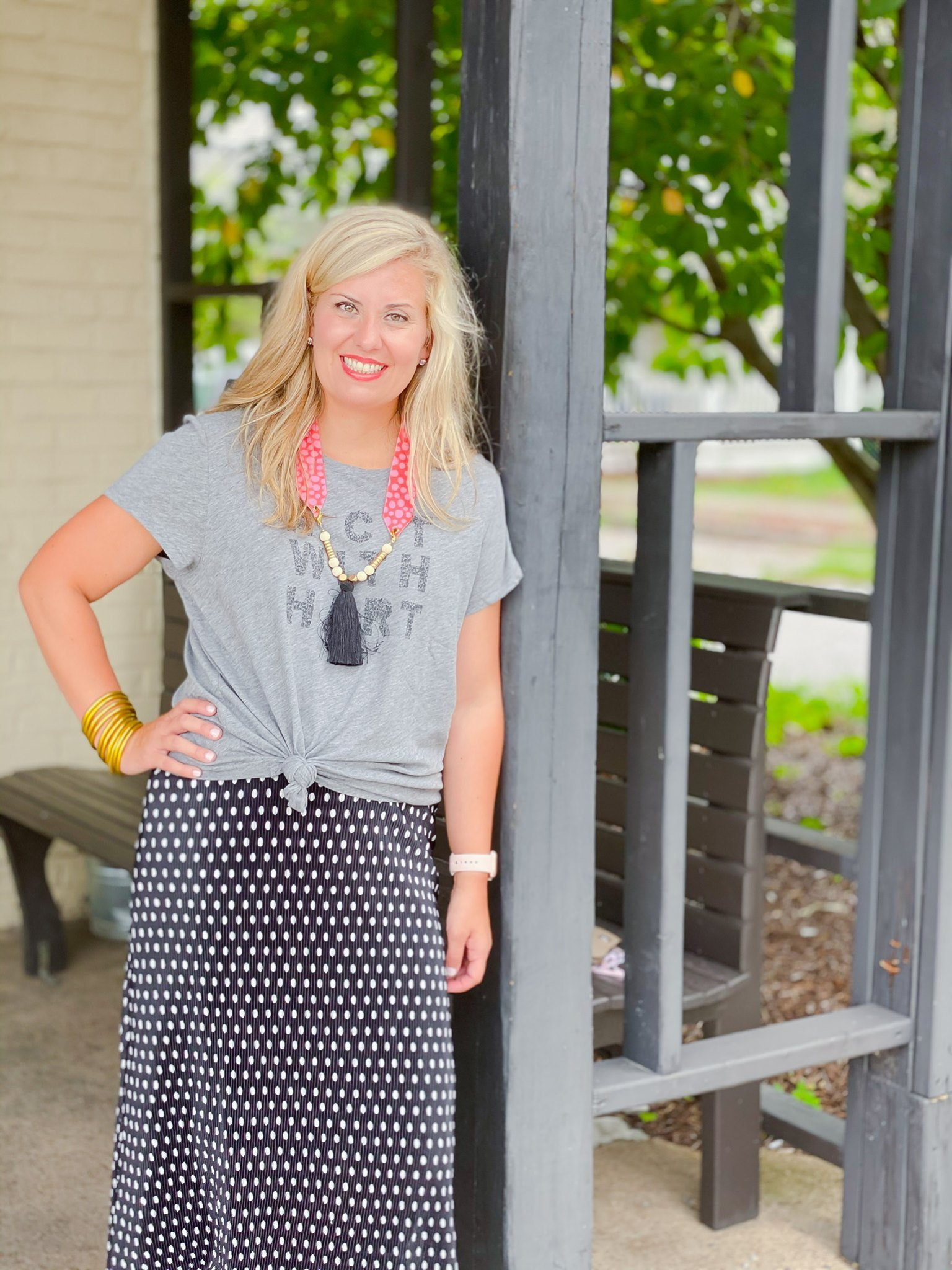 Bells Bend Skirt by Good Hart Paired with Graphic Tee