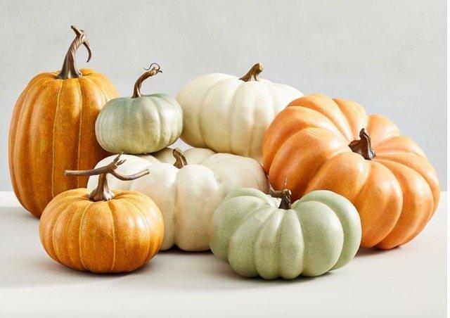 green, white and orange pumpkins