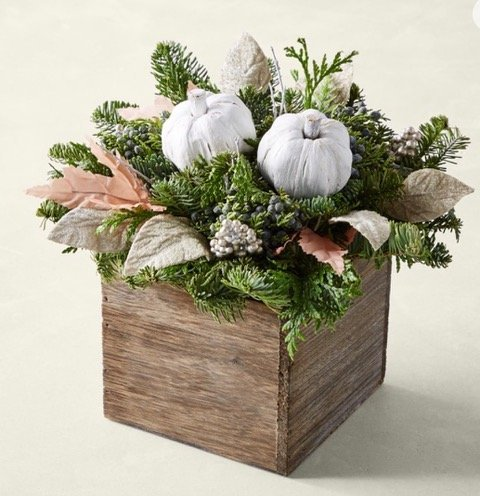 wooden floral box with pumpkins for fall