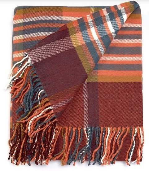 red striped blanket for fall