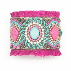Pink and teal bracelet by Allie Beads