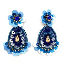 blue beaded floral earrings by Allie Beads