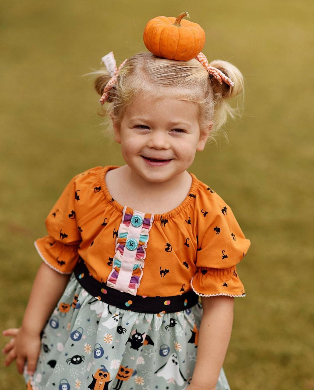 little girl wearing Halloween outfit from Matilda Jane