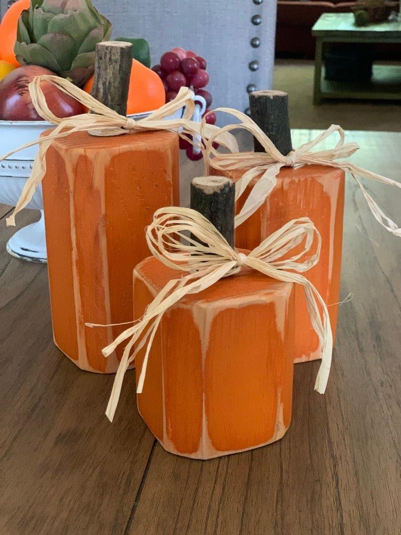 wooden pumpkins, painted