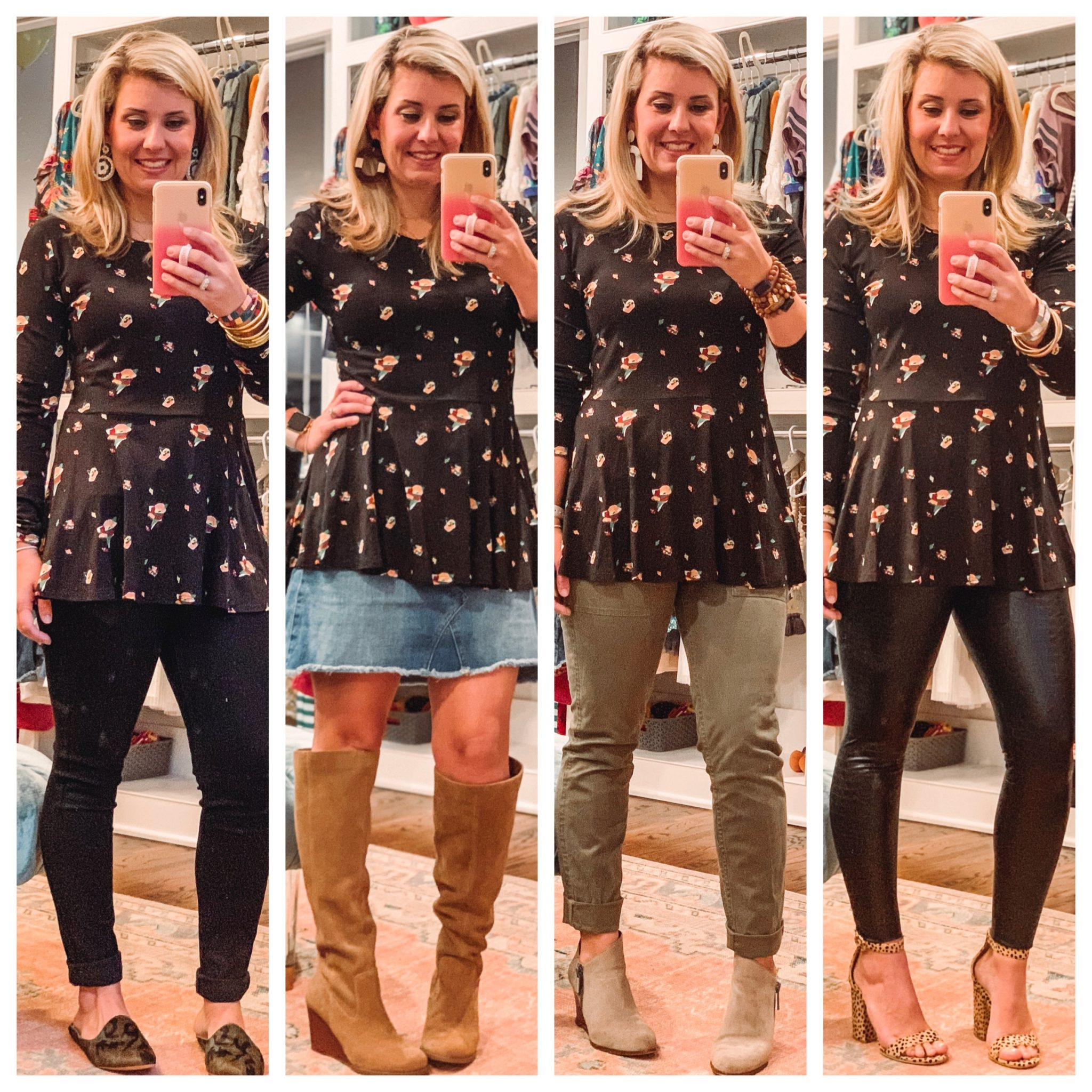 Dress blouse worn four different ways