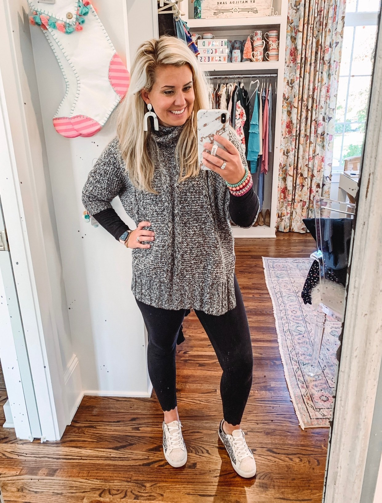 Catherine Martin Trying on Clothes for Closet Clean out