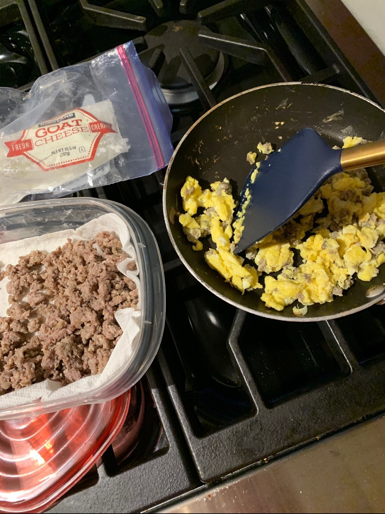 Scrambled eggs with cheese and sausage, easy breakfast idea 1