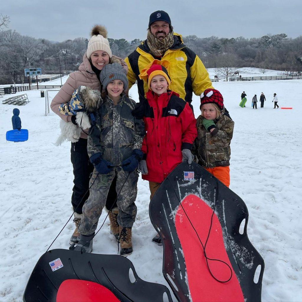 The Martin's enjoy a snow day by sledding