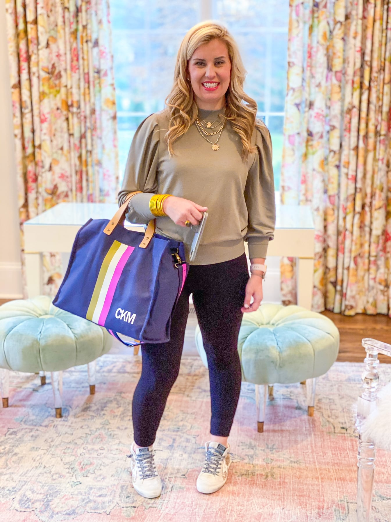 Brentwood Legging with Sweatshirt by Good Hart worn by Catherine Martin