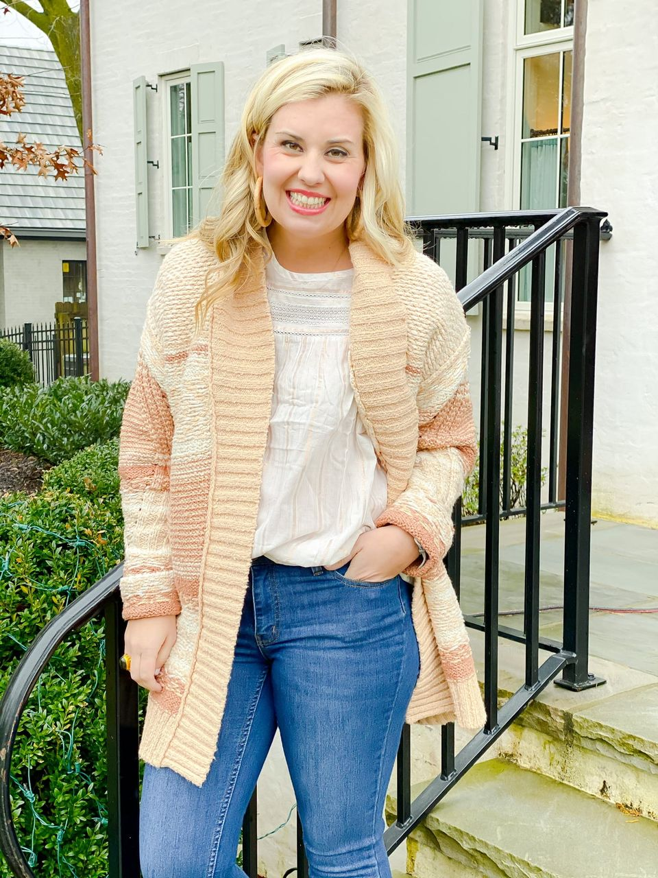 Catherine Martin wearing the Duval Cardigan from the Good Hart Spring 2021 Collection