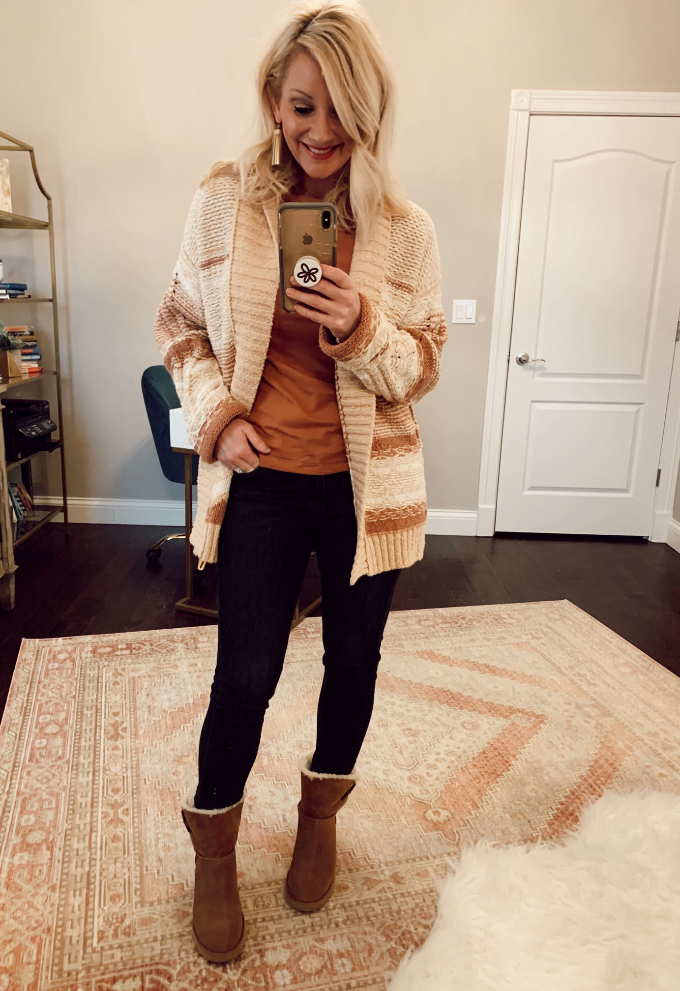 Duval Cardigan with Black Skinny Jeans